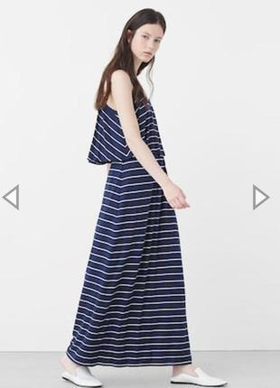 Платье длинное макси в полоску с воланом от mango
