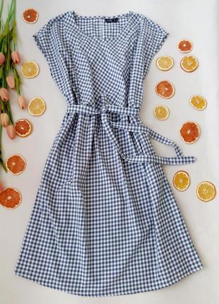 8595668200536e5 Натуральное легкое платье в клетку для кормящих мамочек размер 12 (44-46)