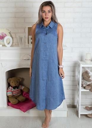 Супер легкое льняное платье l-xl(48-50)