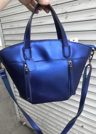 Кожаная сумка сумка кожаная цвет синий