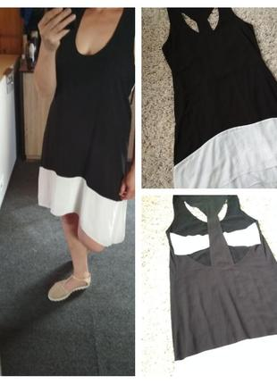 Актуальное стильное лёгкое платье с вырезами на спинке, р. 10-14