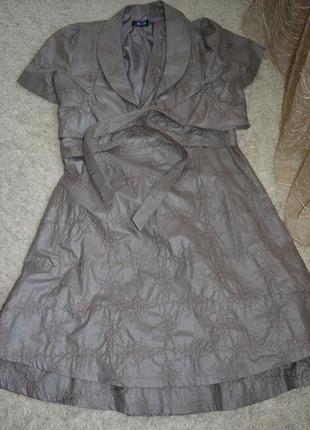 Натуральный нарядный костюм- двойка, комплект, платье + болеро, вышивка, хлопок, волан