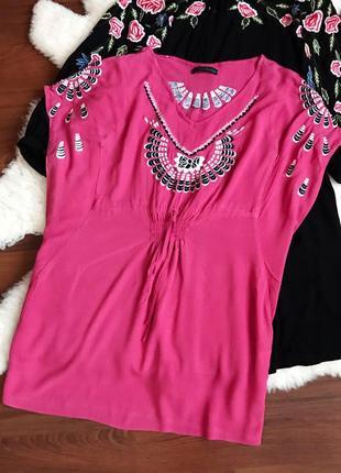 Туника , натуральное платье с вышивкой