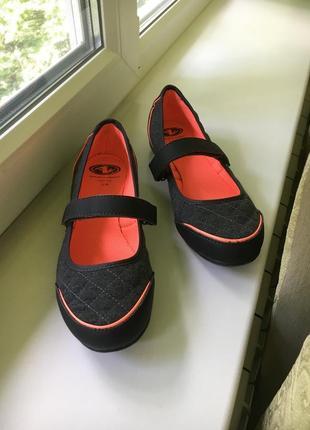 Тканевые туфельки балетки на платформе