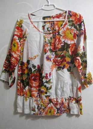 Блуза intown белая цветочный принт красные разноцветные цветы коттон хлопок
