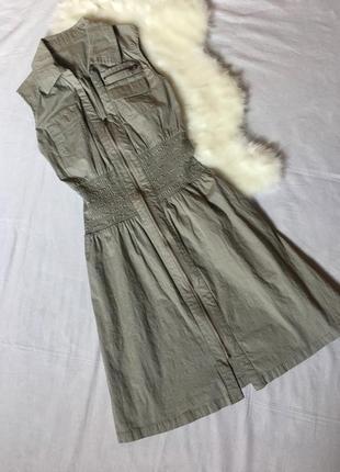 Платье рубашка с молнией и резинкой на талии orsay