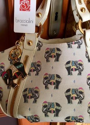Сумка braccialini. линия слоны. брелок слон. италия. оригинал. большая.