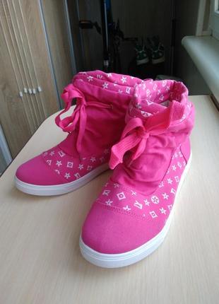 Высокие розовые лёгкие кеды кроссовки текстиль