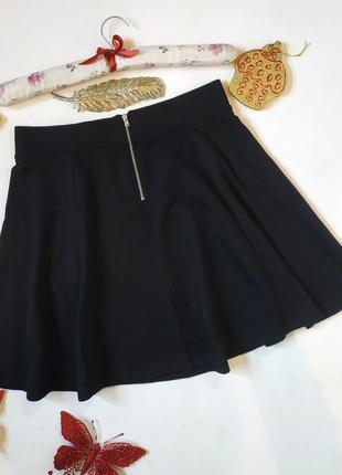 Короткая юбка солнце клеш с высокой талией трикотажная свободная завышенная с замком