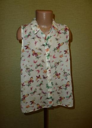 Шифоновая блузка с бабочками на 9-10 лет f&f