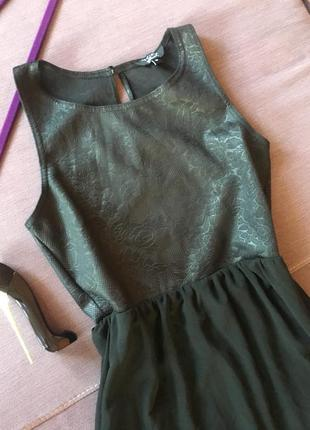 Шикарный  сарафан с кож замом и шифоном new look