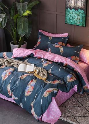 Синий постельный комплект с перьем - евро размер2 фото