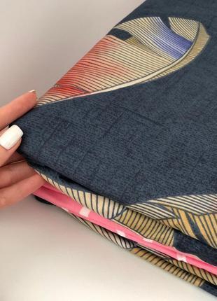 Синий постельный комплект с перьем - евро размер4 фото