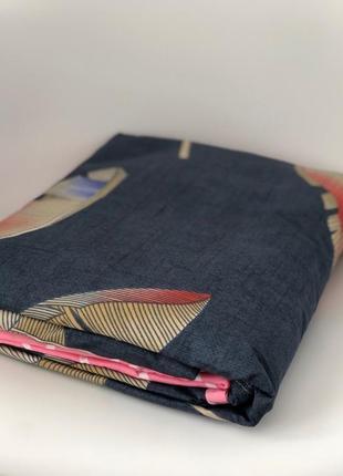 Синий постельный комплект с перьем - евро размер5 фото