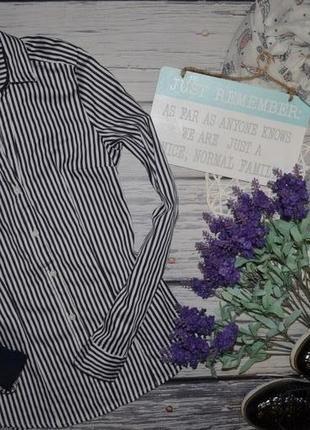 6/36/s h&m фирменная женская рубашка блуза блузка классика полоска
