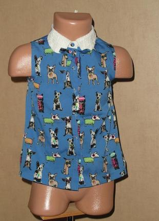 Блузка, рубашка  next. в собачках на 4года состояние идеальное