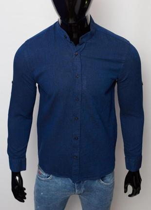 Рубашка мужская льняная figo 15276 с регулировкой рукава цвета в ассортименте5 фото