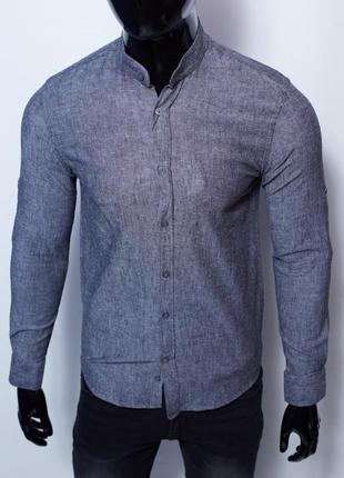 Рубашка мужская льняная figo 15276 с регулировкой рукава цвета в ассортименте6 фото