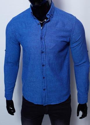 Рубашка мужская льняная figo 15276 с регулировкой рукава цвета в ассортименте7 фото