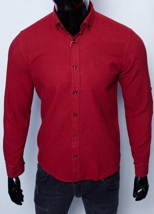 Рубашка мужская льняная figo 15276 с регулировкой рукава цвета в ассортименте9 фото