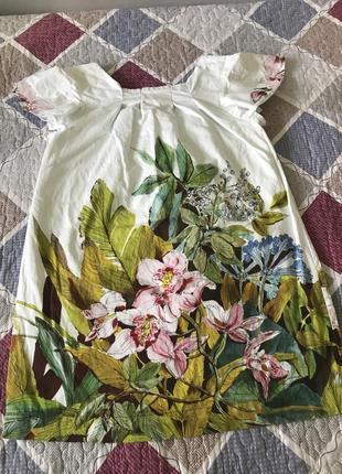 Летнее белое платье zara с цветочным принтом