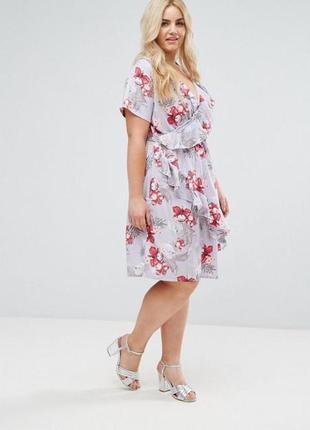 Легкое воздушное платье с воланом, с цветочным принтом