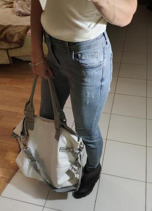 Светло-серые укороченные джинсы lc waikiki скинни мом xs-s покраска мятая бумага2 фото
