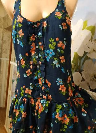 Платье сарафан с натуральной подкладкой с рюшами