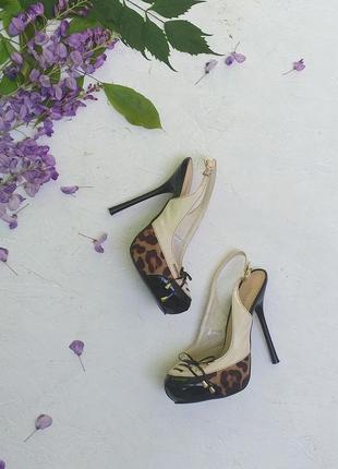 Стильные босоножки туфли мюли лак леопардовый принт открыта пятка от stella marco