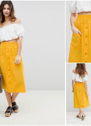 Стильная жёлтая хлопковая юбка миди на пуговицах asos