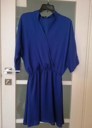 Легкое синее платье на запах top secret