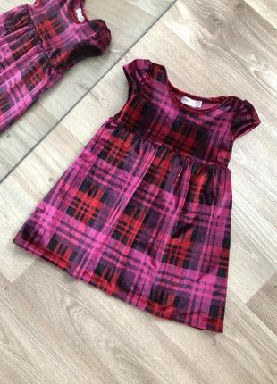 Милое велюровое платье с клетку  9 - 12 месяцев