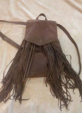 Замшевый рюкзак с бахромой рд-57.рюкзак