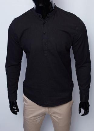 Рубашка мужская льняная на короткой застежке figo 18018 с регулировкой рукава черная