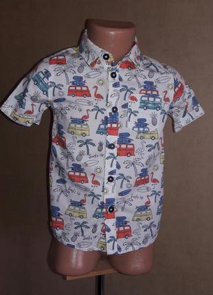Хлопковая рубашка marks&spencer на 2-3 года в идеальном состоянии
