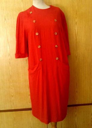 Льняное красное платье с карманами 52-54p-p/xl-2xl.