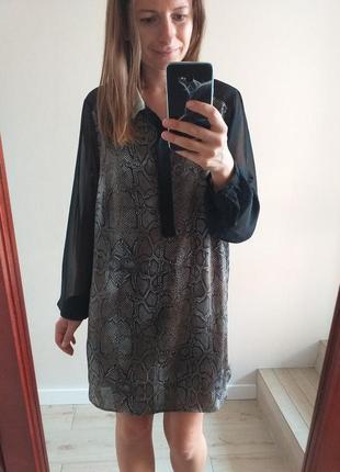 Новое удлиненное летнее платье рубашка змеинный принт