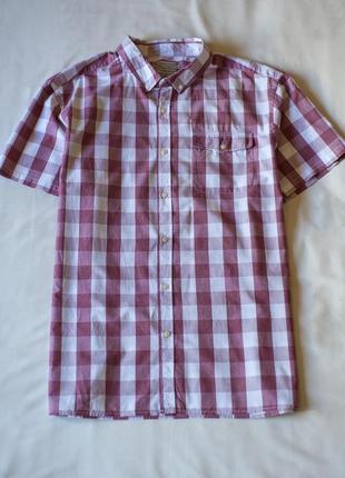"""Стильная качественная хлопковая рубашка с коротким рукавом в клетку """"tu"""", размер 3xl"""
