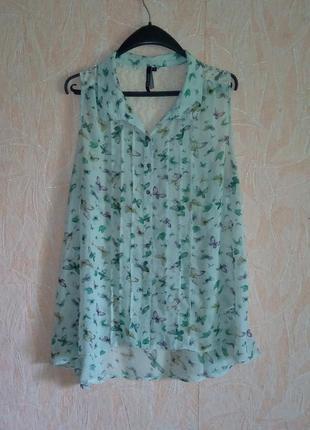Воздушная блуза с милейшим принтом от intuition, кружевная спинка