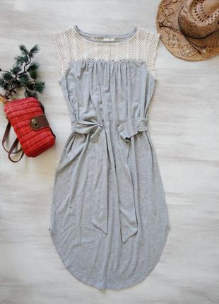 Платье gap длинное, свободное, с поясом, кружевной верх, натуральный трикотаж