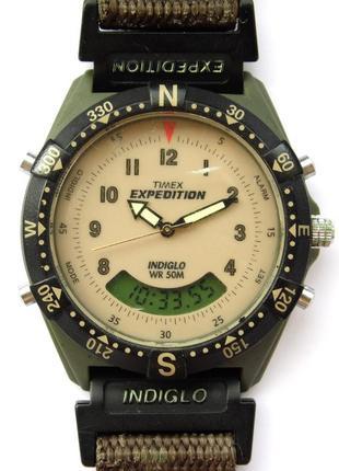 Timex expedition часы из сша 2 циферблата безель indiglo wr50m
