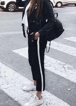 Крутые спортивные брюки с лампасами, размер 16