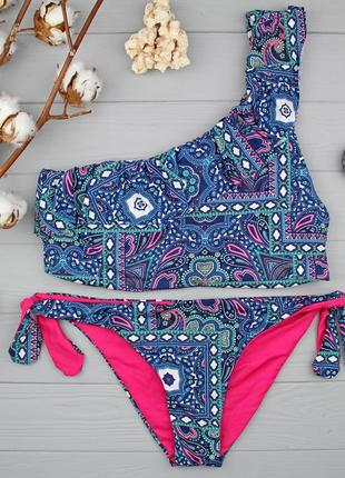 !!!sale!!! стильный купальник-топ верх m низ s на одно плечо с рюшей от tezenis