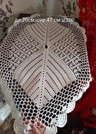Белая овальная салфетка,скатерть ручная работа