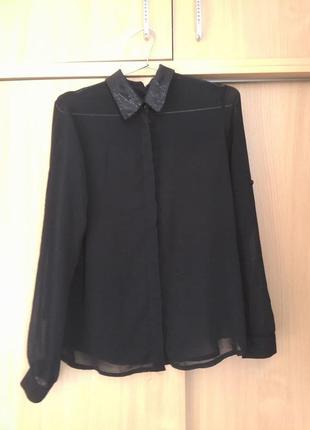 Стильная базовая шифоновая блузка amisu zara . оригинал6 фото