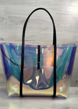 Силиконовая пляжная сумка на плечо корзинка перламутровая с косметичкой