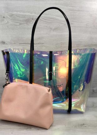 Силиконовая пляжная сумка на плечо корзинка перламутровая с косметичкой2 фото