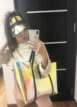 Силиконовая пляжная сумка на плечо корзинка перламутровая с косметичкой4 фото