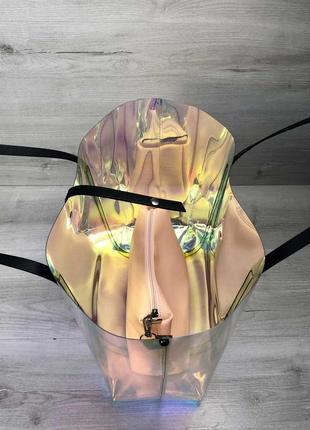 Силиконовая пляжная сумка на плечо корзинка перламутровая с косметичкой3 фото