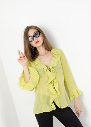 Angel nina винтажная блуза в горошек с оборками на завязке, вінтажна блузка